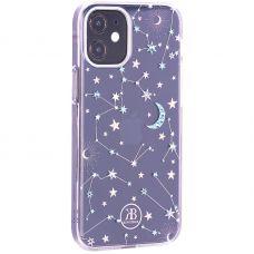 "Чехол-накладка KINGXBAR для iPhone 12 mini (5.4"") пластик со стразами Swarovski прозрачная с силиконовыми бортами (Звезды)"
