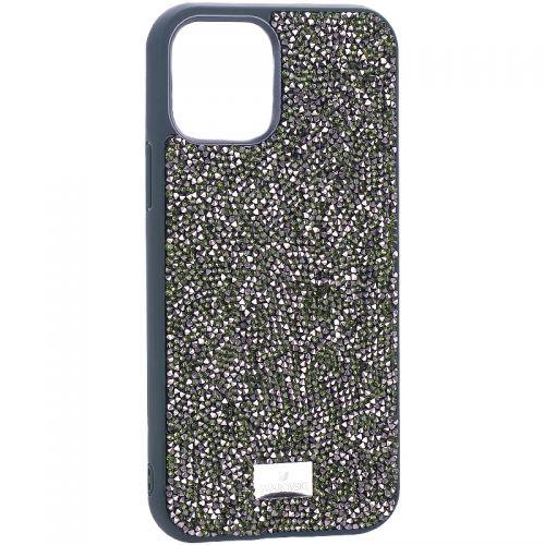 """Чехол-накладка силиконовая со стразами SWAROVSKI Crystalline для iPhone 12/ 12 Pro (6.1"""") Темно-зеленый"""