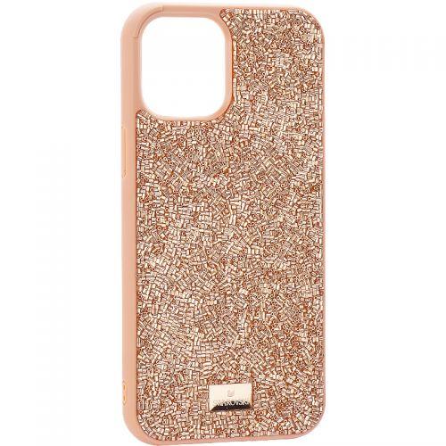 """Чехол-накладка силиконовая со стразами SWAROVSKI Crystalline для iPhone 12 Pro Max (6.7"""") Светло-коричневый №3"""