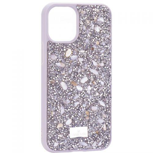 """Чехол-накладка силиконовая со стразами SWAROVSKI Crystalline для iPhone 12 mini (5.4"""") Светло-серый №2"""