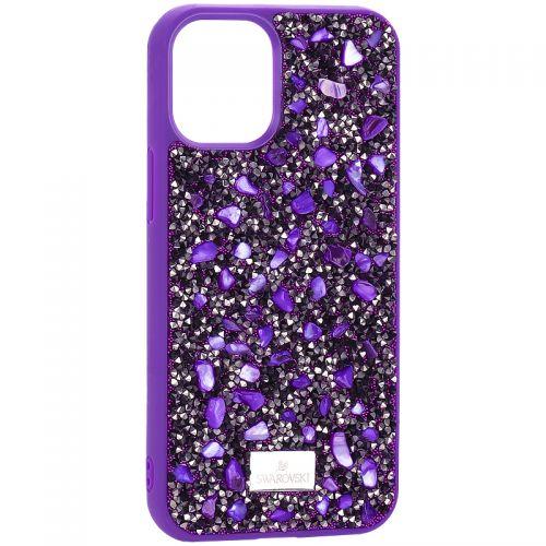 """Чехол-накладка силиконовая со стразами SWAROVSKI Crystalline для iPhone 12 mini (5.4"""") Ульрафиолет"""