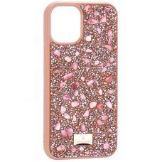 """Чехол-накладка силиконовая со стразами SWAROVSKI Crystalline для iPhone 12 mini (5.4"""") Светло-коричневый №2"""
