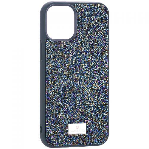"""Чехол-накладка силиконовая со стразами SWAROVSKI Crystalline для iPhone 12 mini (5.4"""") Темно-зеленый №2"""