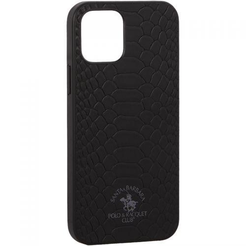 "Накладка кожаная Santa Barbara Polo&Racquet Club Knight Series для iPhone 12/ 12 Pro (6.1"") Черная"