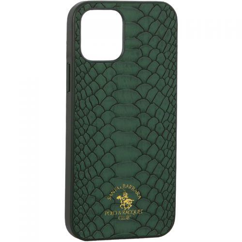 "Накладка кожаная Santa Barbara Polo&Racquet Club Knight Series для iPhone 12/ 12 Pro (6.1"") Зеленая"