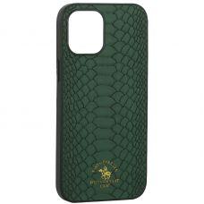 "Накладка кожаная Santa Barbara Polo&Racquet Club Knight Series для iPhone 12 Pro Max (6.7"") Зеленая"