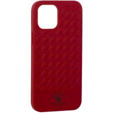 "Накладка кожаная Santa Barbara Polo&Racquet Club Ravel Series для iPhone 12 Pro Max (6.7"") Красная"