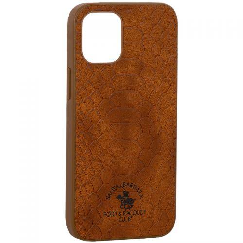 "Накладка кожаная Santa Barbara Polo&Racquet Club Knight Series для iPhone 12 mini (5.4"") Коричневая"