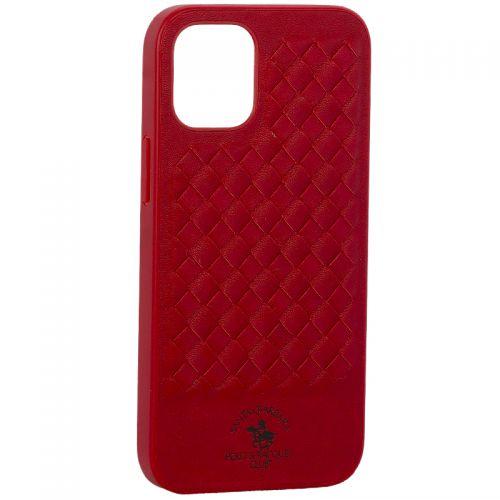 """Накладка кожаная Santa Barbara Polo&Racquet Club Ravel Series для iPhone 12 mini (5.4"""") Красная"""
