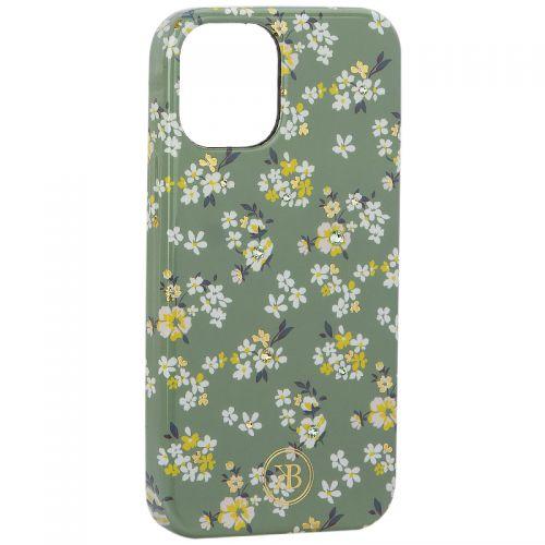 """Чехол-накладка KINGXBAR для iPhone 12 mini (5.4"""") пластик со стразами Swarovski (Цветочная серия №3)"""