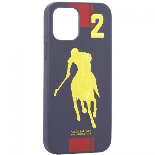 "Накладка кожаная Santa Barbara Polo&Racquet Club SPGNE Series для iPhone 12/ 12 Pro (6.1"") Синяя"