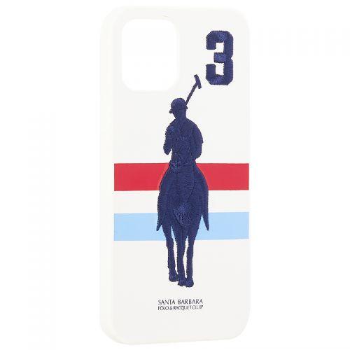 """Накладка кожаная Santa Barbara Polo&Racquet Club SPGNE Series для iPhone 12/ 12 Pro (6.1"""") Белая"""