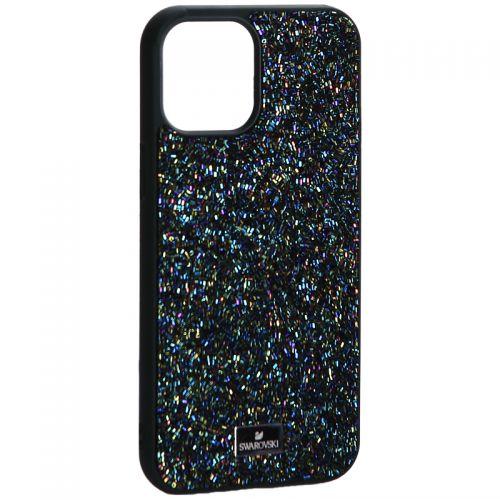 """Чехол-накладка силиконовая со стразами SWAROVSKI Crystalline для iPhone 12 Pro Max (6.7"""") Темно-зеленый №2"""