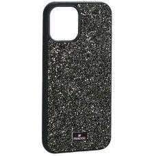 """Чехол-накладка силиконовая со стразами SWAROVSKI Crystalline для iPhone 12 Pro Max (6.7"""") Темно-зеленый"""