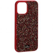 """Чехол-накладка силиконовая со стразами SWAROVSKI Crystalline для iPhone 12 Pro Max (6.7"""") Красный №2"""