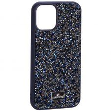 """Чехол-накладка силиконовая со стразами SWAROVSKI Crystalline для iPhone 12 mini (5.4"""") Темно-синий №3"""