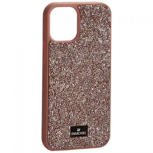 """Чехол-накладка силиконовая со стразами SWAROVSKI Crystalline для iPhone 12 mini (5.4"""") Светло-коричневый №3"""