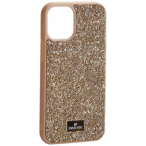 """Чехол-накладка силиконовая со стразами SWAROVSKI Crystalline для iPhone 12 mini (5.4"""") Золотой"""