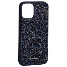 """Чехол-накладка силиконовая со стразами SWAROVSKI Crystalline для iPhone 12 mini (5.4"""") Темно-синий №5"""