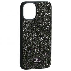 """Чехол-накладка силиконовая со стразами SWAROVSKI Crystalline для iPhone 12 mini (5.4"""") Темно-зеленый"""