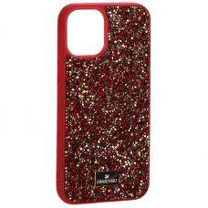 """Чехол-накладка силиконовая со стразами SWAROVSKI Crystalline для iPhone 12 mini (5.4"""") Красный №2"""