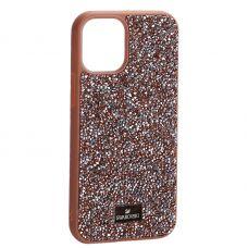 """Чехол-накладка силиконовая со стразами SWAROVSKI Crystalline для iPhone 12 mini (5.4"""") Светло-коричневый"""