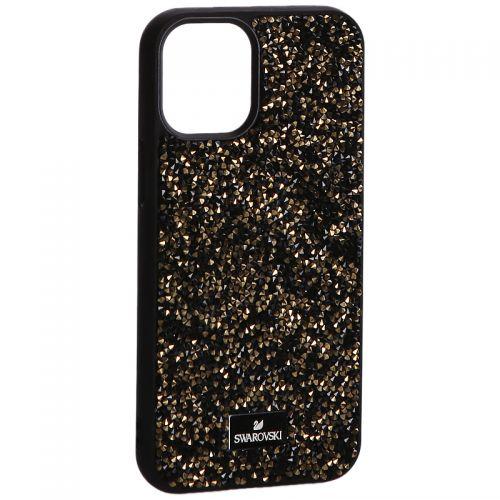 """Чехол-накладка силиконовая со стразами SWAROVSKI Crystalline для iPhone 12 mini (5.4"""") Черно-золотой"""