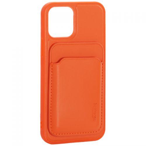 """Чехол-накладка кожаный Mutural для Iphone 12/ 12 Pro (6.1"""") с бумажником MagSafe Оранжевый"""