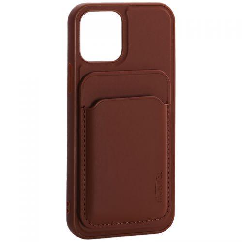 """Чехол-накладка кожаный Mutural для Iphone 12/ 12 Pro (6.1"""") с бумажником MagSafe Коричневый"""