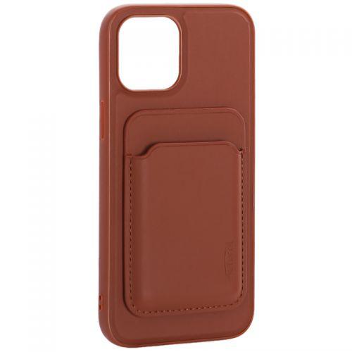 """Чехол-накладка кожаный Mutural для Iphone 12 Pro Max (6.7"""") с бумажником MagSafe Коричневый"""