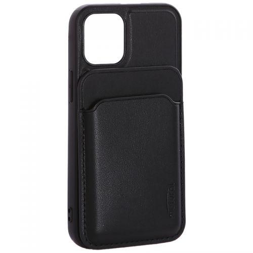 """Чехол-накладка кожаный Mutural для Iphone 12 mini (5.4"""") с бумажником MagSafe Черный"""