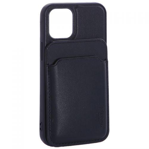 """Чехол-накладка кожаный Mutural для Iphone 12 mini (5.4"""") с бумажником MagSafe Синий"""