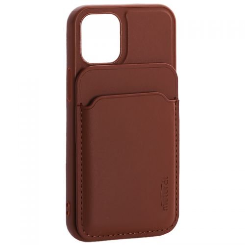 """Чехол-накладка кожаный Mutural для Iphone 12 mini (5.4"""") с бумажником MagSafe Коричневый"""