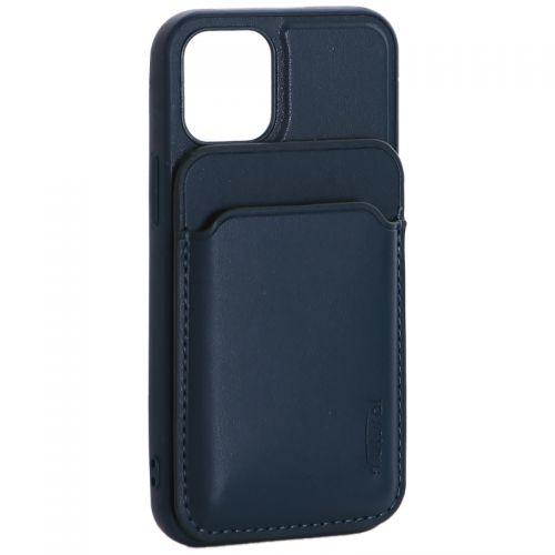 """Чехол-накладка кожаный Mutural для Iphone 12 mini (5.4"""") с бумажником MagSafe Зеленый"""
