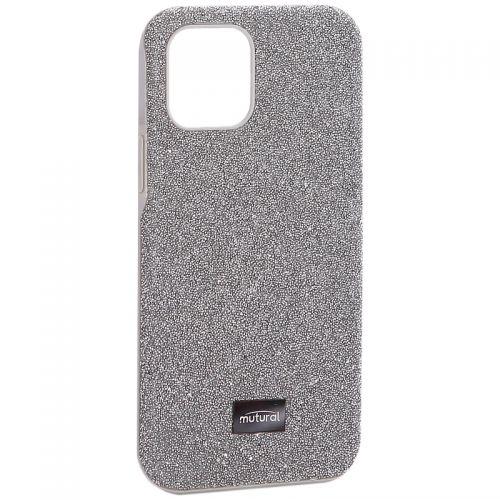 """Чехол-накладка силиконовый со стразами Mutural для Iphone 12/ 12 Pro (6.1"""") Серебристый"""