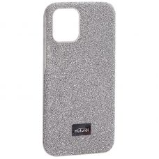 """Чехол-накладка силиконовый со стразами Mutural для Iphone 12 mini (5.4"""") Серебристый"""