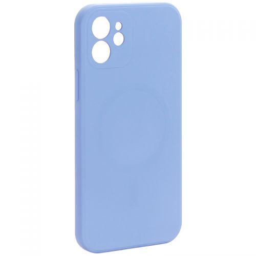 """Чехол-накладка силиконовая J-case Creative Case Liquid Silica Magic Magnetic для iPhone 12 (6.1"""") Серо-лавандовый"""