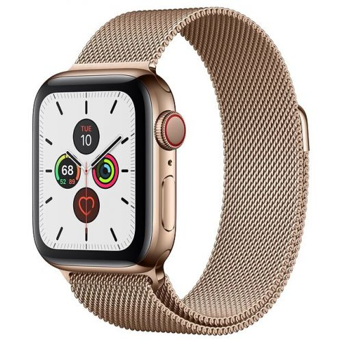 Apple Watch Series 5 44mm Stainless Steel Case with Milanese Loop Gold