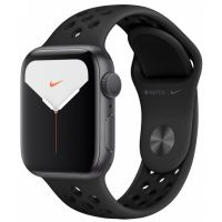 Apple Watch Series 5 44mm Space Gray Aluminum Case with Nike Sport Band (Black)