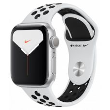 Apple Watch Series 5 40mm Silver Aluminum Case with Nike Sport Band (Pure Platinum/White)