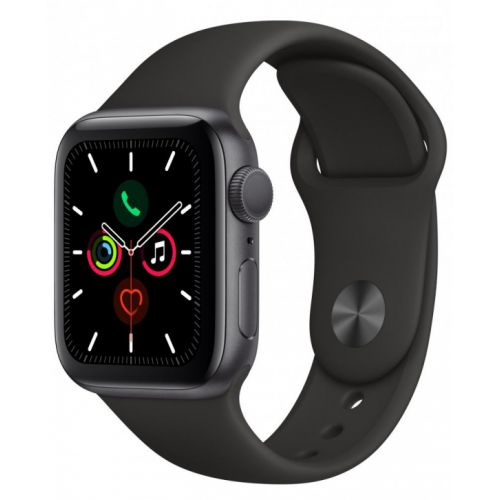 Apple Watch Series 5 44mm Space Gray Aluminum Case with Sport Band (Black)