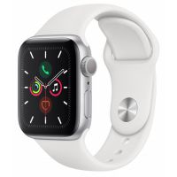 Apple Watch Series 5 40mm Silver Aluminum Case with Sport Band (White)