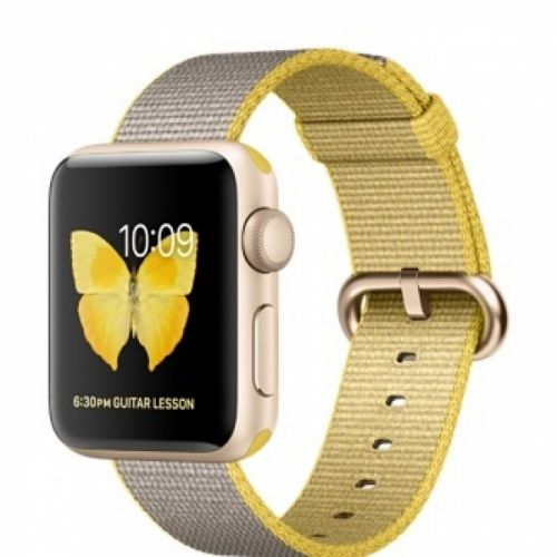 Apple Watch series 2 38mm Aluminium Case with Yellow/Light Gray Woven Nylon (Gold)
