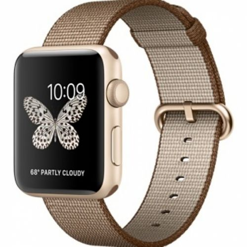 Apple Watch series 2 42mm Aluminium Case with Toasted Coffee/Caramel Woven Nylon (Gold)