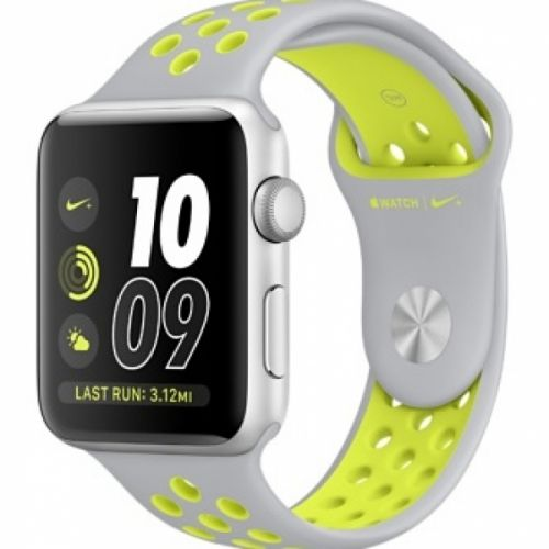 Apple Watch series 2 42mm Aluminium Case with Flat Silver/Volt Nike Sport Band (Silver)