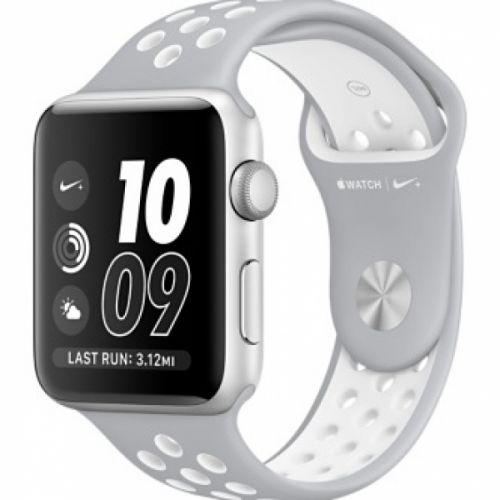 Apple Watch series 2 42mm Aluminium Case with Flat Silver/White Nike Sport Band (Silver)